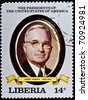 "LIBERIA - CIRCA 2000s: A stamp printed in Liberia shows President Harry Truman, circa 2000s. ""All USA Presidents"" series. - stock photo"