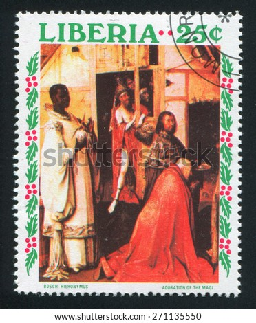 LIBERIA - CIRCA 1970: stamp printed by Liberia, shows Adoration of the King by Hieronymus Bosch, circa 1970 - stock photo