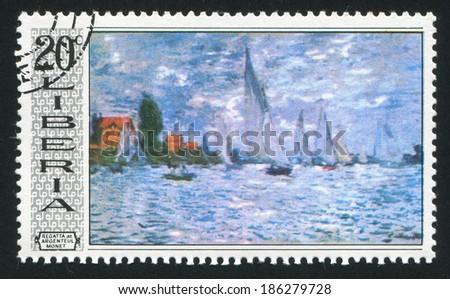 LIBERIA - CIRCA 1969: stamp printed by Liberia, shows Regatta at Argenteuil by Claude Monet, circa 1969 - stock photo