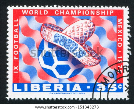 LIBERIA - CIRCA 1970: stamp printed by Liberia, shows Sombrero and soccer ball, circa 1970