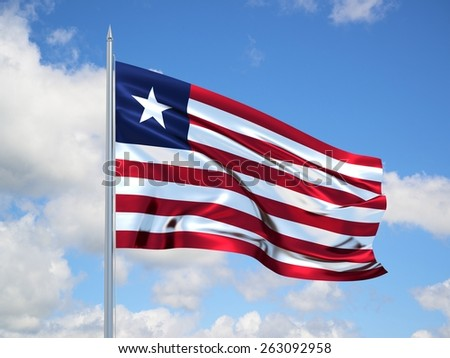 Liberia 3d flag floating in the wind with a blue sky in the background