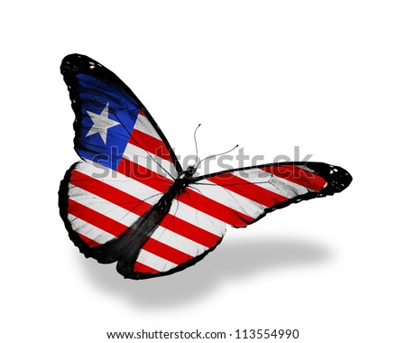 Liberia flag butterfly flying, isolated on white background
