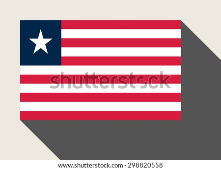 Liberia flag in flat web design style. - stock photo