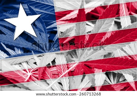 Liberia Flag on cannabis background. Drug policy. Legalization of marijuana - stock photo