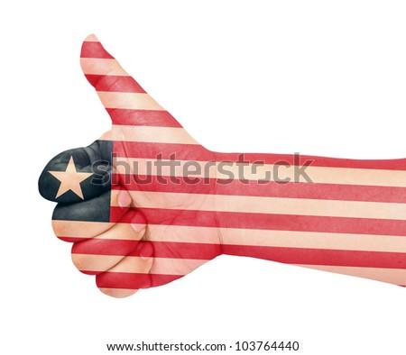 Liberia flag on thumb up gesture like icon on white background - stock photo
