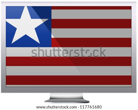 Liberia flag painted on grey aluminum monitor - stock photo