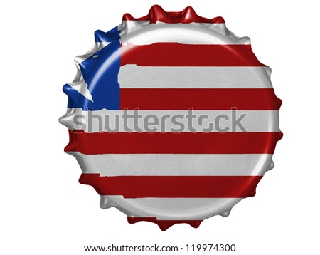 Liberia flag painted on stopper - stock photo
