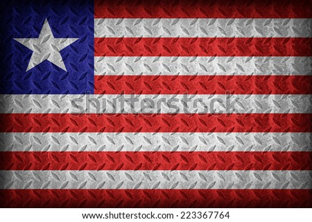 Liberia flag pattern on the diamond metal plate texture ,vintage style - stock photo