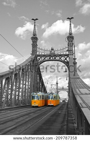 Liberty Bridge Budapest, Hungary. - stock photo