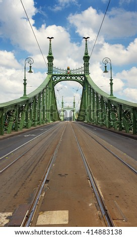 Liberty Bridge in Budapest, Hungary - stock photo