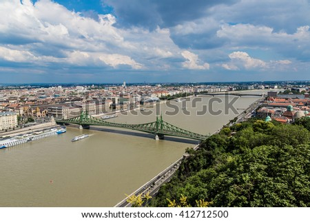 Liberty Bridge in Budapest in a summer day