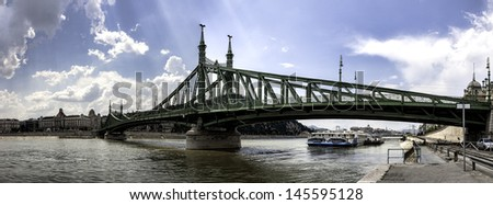 Liberty bridge in old  Budapest Hungary