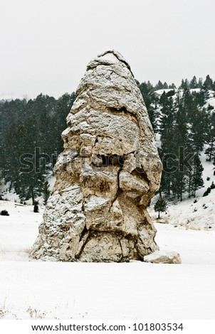 Liberty Cap Cinder Cone, Winter, Mammoth Hot Springs, Yellowstone NP, WY - stock photo