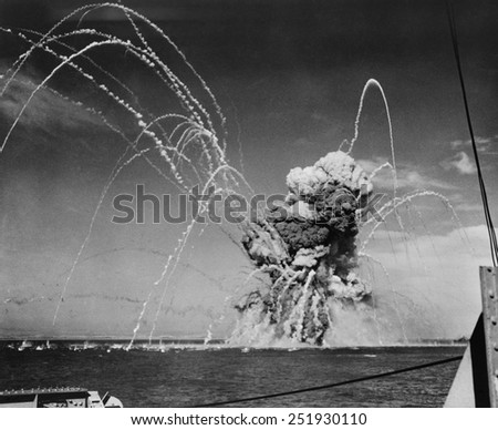 Liberty Ship SS Rowan explodes after being hit by a German bomb, near Gela, Sicily on July 11, 1943. - stock photo
