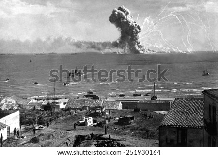 Liberty Ship SS Rowan explodes after being hit by a German bomb, near Gela, Sicily on July 11, 1943. July 11, 1943, Allied invasion of Sicily, World War 2. - stock photo