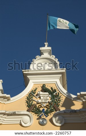 liberty sign on historic building with flag guatemala city - stock photo