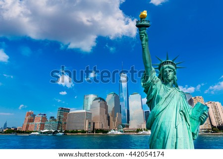 Liberty Statue and New York skyline American Symbols USA photomount - stock photo