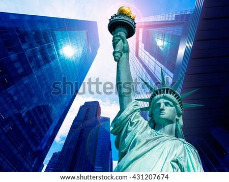 Liberty Statue and skyscrapers New York American Symbols USA photomount - stock photo