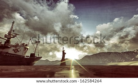 liberty statue in post apocalyptic scene