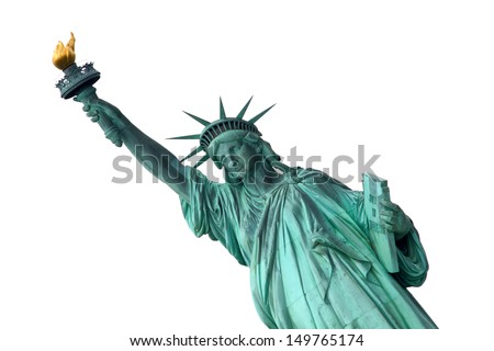 Liberty Statue isolated on white background - stock photo