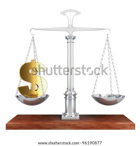 Libra. A gold sign of dollar is in the bowl of scales - stock photo