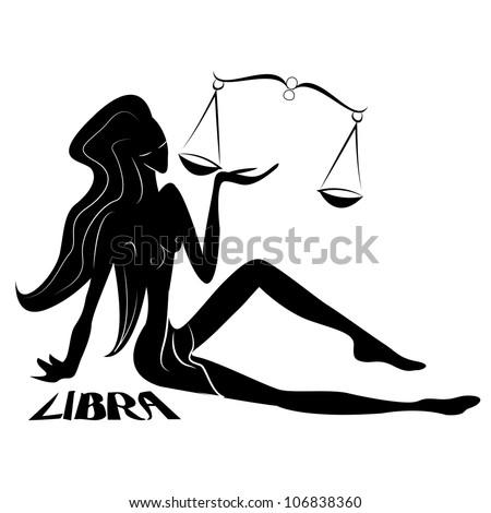 Libra/Elegant zodiac signs silhouettes isolated on white - stock photo