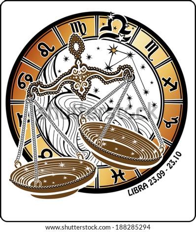 Libra zodiac sign. Around is circle of horoscope signs of zodiac constellation Virgo and stars, illustration.  - stock photo