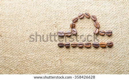 Libra - Zodiac signs of  coffee beans isolated on white - stock photo