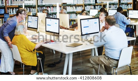 Library Academic Computer Education Internet Concept - stock photo