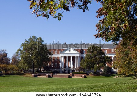 Library and campus of the University of Maryland located in College Park, MD. - stock photo