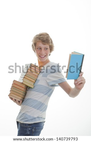 library book student with stack of books