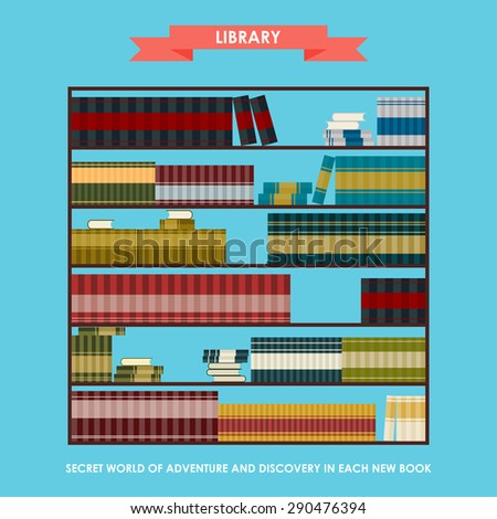 Library bookcase isolated on stylish blue cover. Simple graphic cartoon illustration in trendy flat style with slogan about reading as opening secret world of adventure and discovery. Raster copy - stock photo