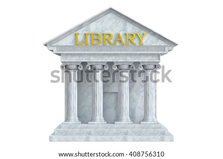 Library building with columns, 3D rendering