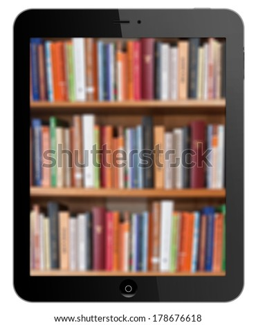 library in black tablet on white background  - stock photo