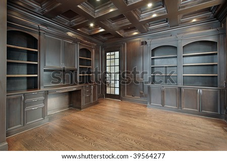 Library in new construction home - stock photo