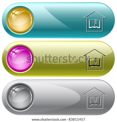 Library. Internet buttons. Raster illustration. Vector version is in my portfolio. - stock photo