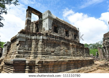 Library of ancient Bayon Temple in Angkor Thom city, Siem Reap in Cambodia