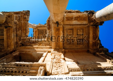 Library of Celsus architecture, ceiling and columns, Turkey
