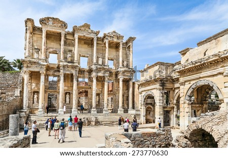 Library Of Celsus at Ephesus - stock photo