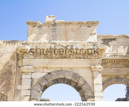 Library Of Celsus at Ephesus Library of Celsus, ruins of ancient city Ephesus, Turkey. - stock photo