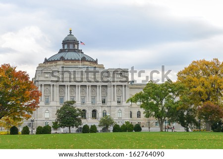 Library of Congress in Autumn  - Washington DC, United States  - stock photo