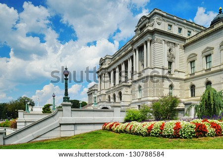 Library of Congress - Thomas Jefferson Building - Washington DC - stock photo