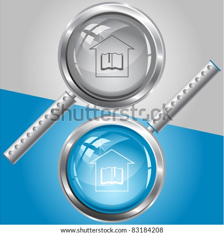 Library. Raster magnifying glass. Vector version is in my portfolio. - stock photo