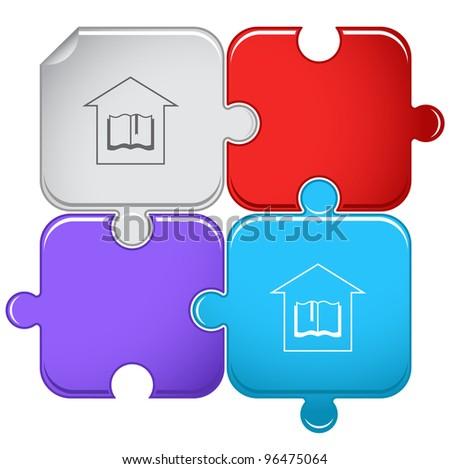 Library. Raster puzzle. Vector version is in portfolio. - stock photo