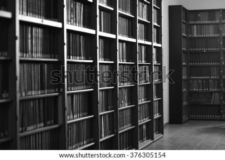 Library service, monochrome - stock photo