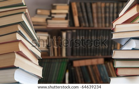 Library stack of books