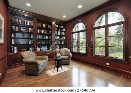 Library with wood paneling - stock photo