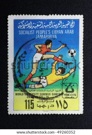 LIBYA - CIRCA 20th CENTURY: A stamp printed in Libya shows football, circa 20th century