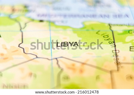 libya country on map - stock photo