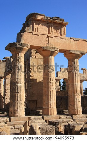 Libya, Cyrenaica, Cyrene, Ruins of Temple of Zeus Cyrene UNESCO World Heritage Site